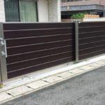 ガレージの門扉 引戸タイプの設置3